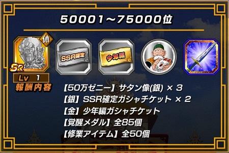ランキング報酬50001~75000