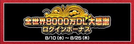 8000万DLログインボーナス