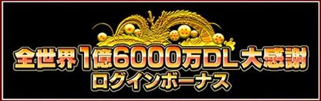 全世界1億6千万DL記念ログインボーナス
